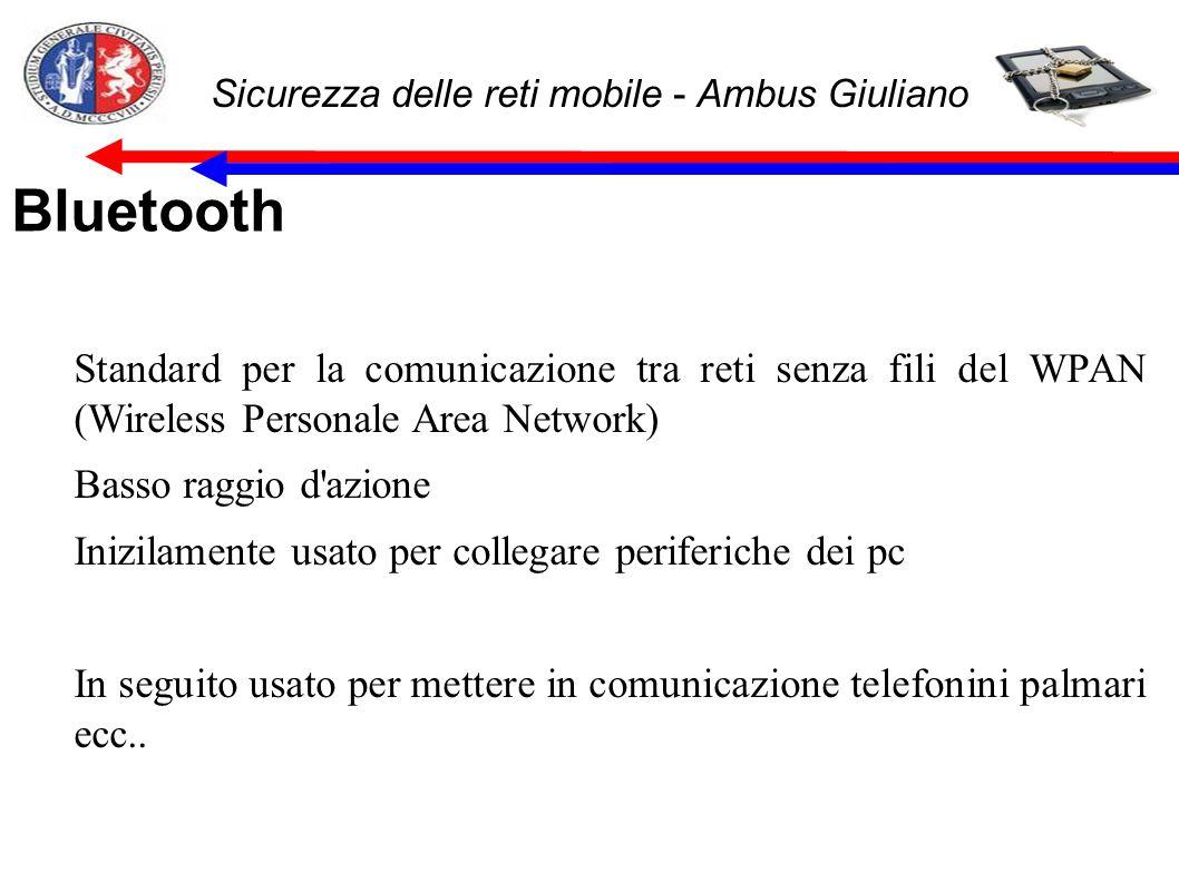 Sicurezza delle reti mobile - Ambus Giuliano Bluetooth Standard per la comunicazione tra reti senza fili del WPAN (Wireless Personale Area Network) Basso raggio d azione Inizilamente usato per collegare periferiche dei pc In seguito usato per mettere in comunicazione telefonini palmari ecc..