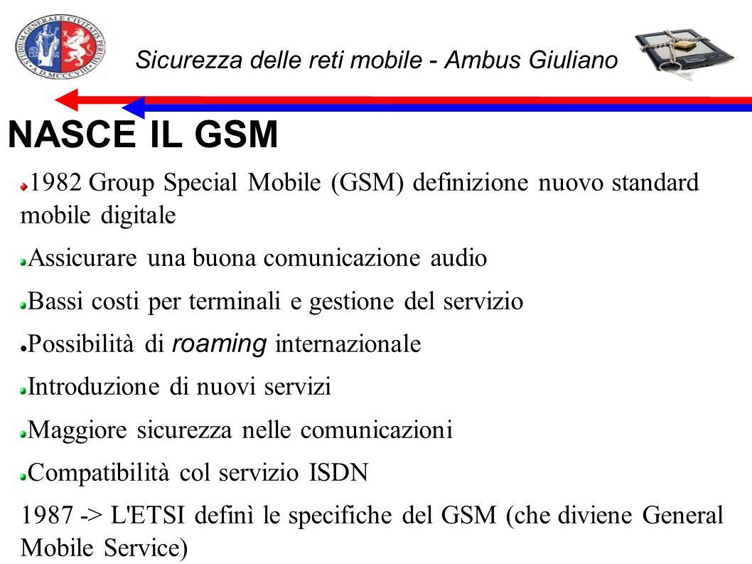 Sicurezza delle reti mobile - Ambus Giuliano NASCE IL GSM 1982 Group Special Mobile (GSM) definizione nuovo standard mobile digitale Assicurare una bu