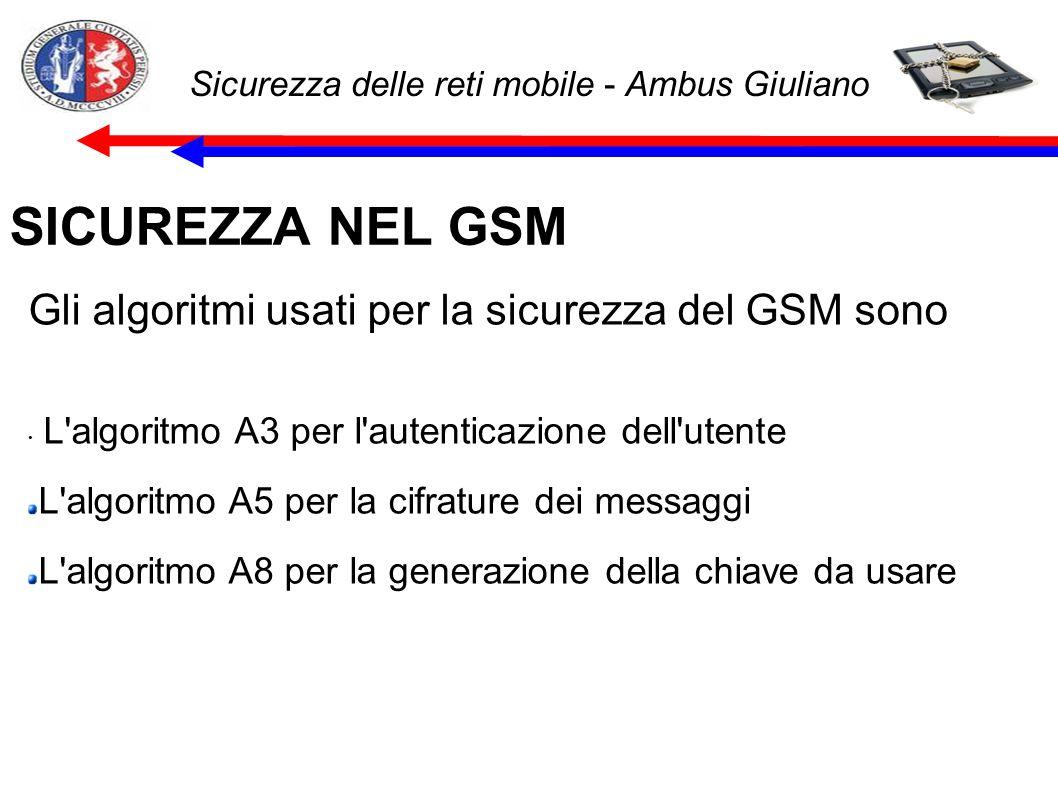Sicurezza delle reti mobile - Ambus Giuliano SICUREZZA NEL GSM Gli algoritmi usati per la sicurezza del GSM sono L algoritmo A3 per l autenticazione dell utente L algoritmo A5 per la cifrature dei messaggi L algoritmo A8 per la generazione della chiave da usare