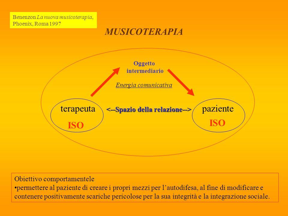 Oggetto intermediario Energia comunicativa terapeutapaziente ISO MUSICOTERAPIA Obiettivo comportamentele permettere al paziente di creare i propri mez