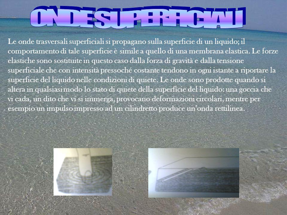 Le onde trasversali superficiali si propagano sulla superficie di un liquido; il comportamento di tale superficie è simile a quello di una membrana el