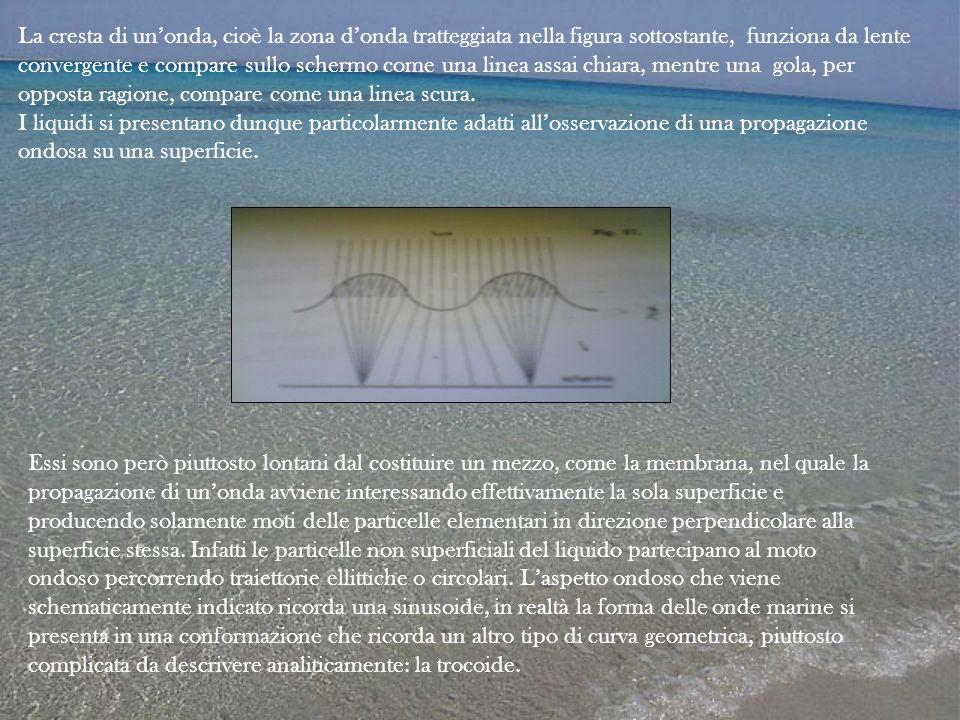 La cresta di un'onda, cioè la zona d'onda tratteggiata nella figura sottostante, funziona da lente convergente e compare sullo schermo come una linea
