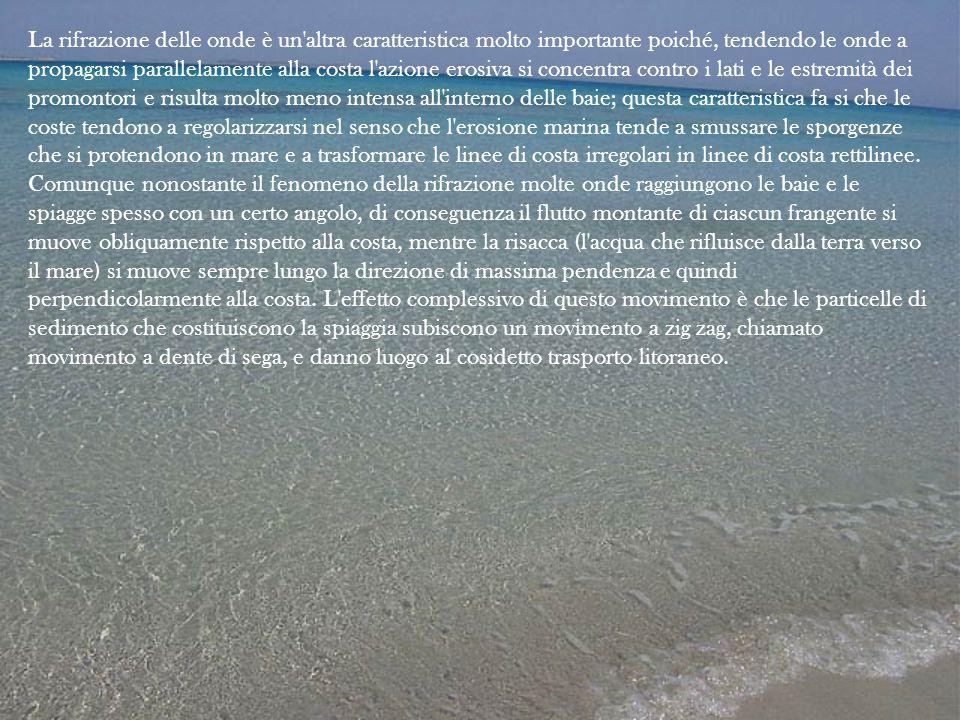 La rifrazione delle onde è un'altra caratteristica molto importante poiché, tendendo le onde a propagarsi parallelamente alla costa l'azione erosiva s