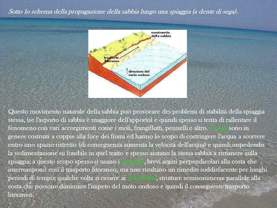 Sotto lo schema della propagazione della sabbia lungo una spiaggia (a dente di sega). Questo movimento naturale della sabbia può provocare dei problem