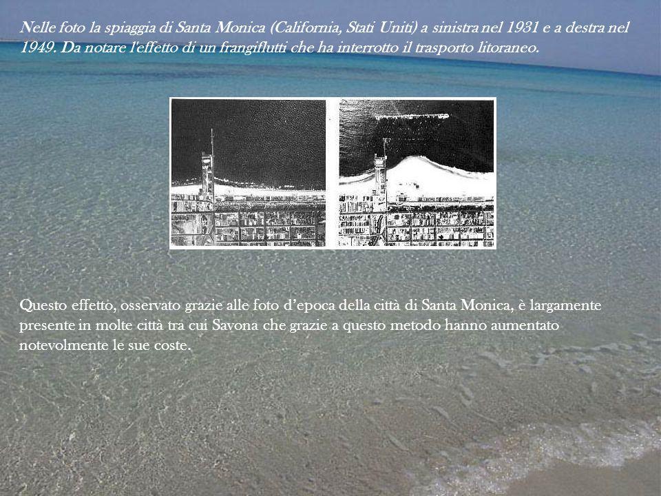 Nelle foto la spiaggia di Santa Monica (California, Stati Uniti) a sinistra nel 1931 e a destra nel 1949. Da notare l'effetto di un frangiflutti che h