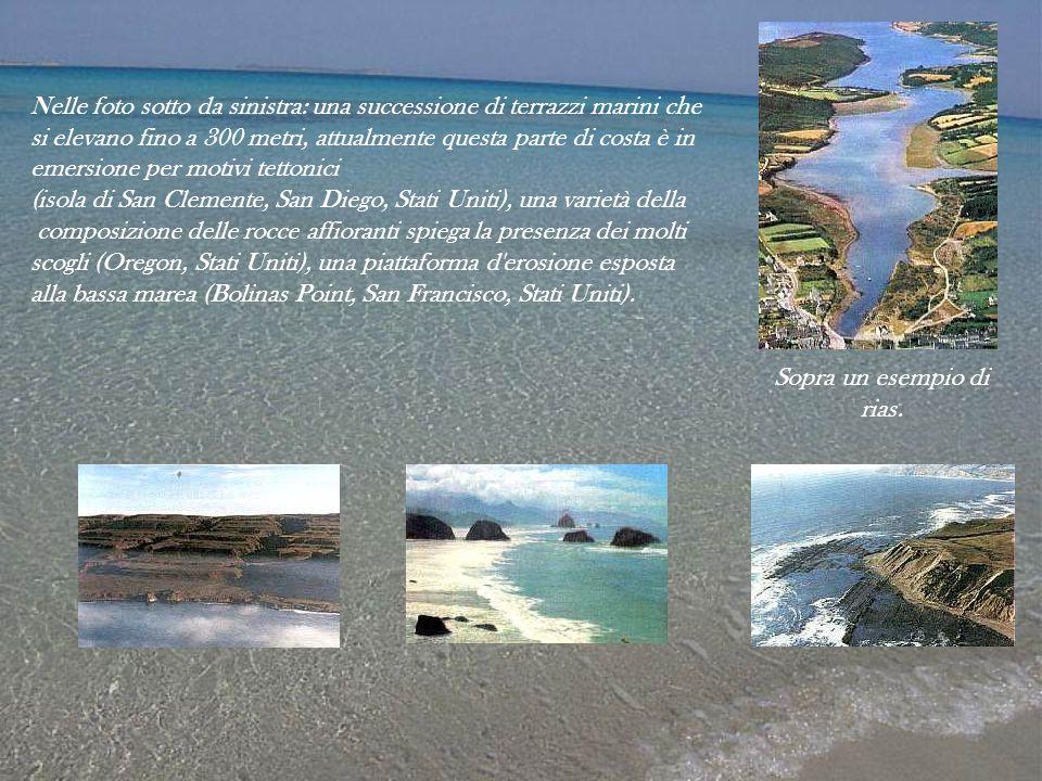 Nelle foto sotto da sinistra: una successione di terrazzi marini che si elevano fino a 300 metri, attualmente questa parte di costa è in emersione per
