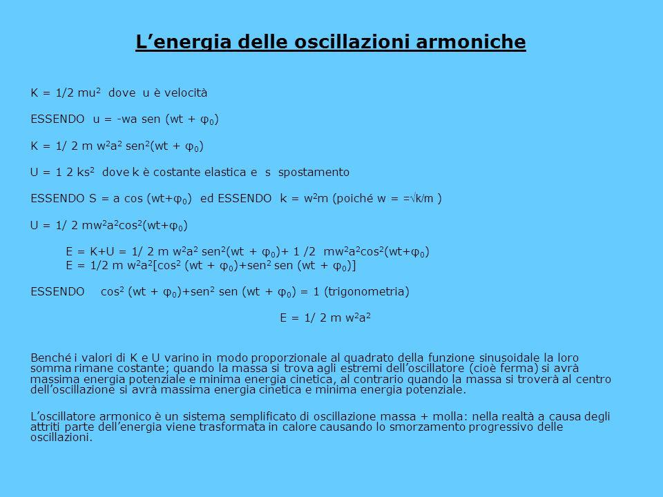 L'energia delle oscillazioni armoniche K = 1/2 mu 2 dove u è velocità ESSENDO u = -wa sen (wt + φ 0 ) K = 1/ 2 m w 2 a 2 sen 2 (wt + φ 0 ) U = 1 2 ks