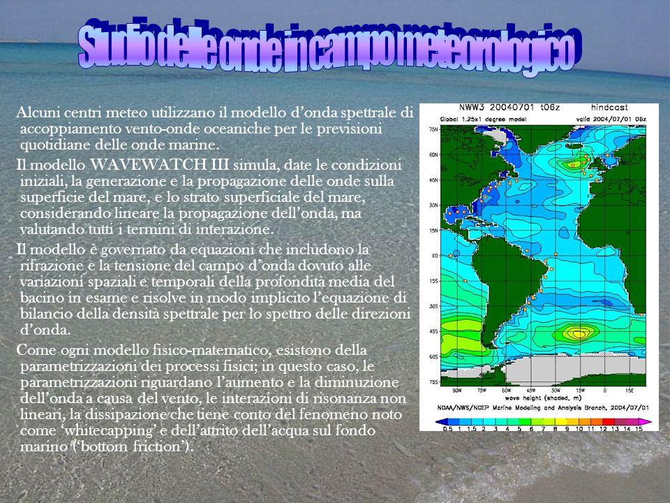 Alcuni centri meteo utilizzano il modello d'onda spettrale di accoppiamento vento-onde oceaniche per le previsioni quotidiane delle onde marine. Il mo