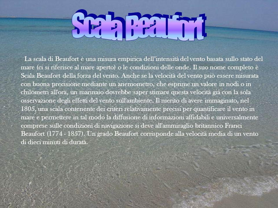La scala di Beaufort è una misura empirica dell'intensità del vento basata sullo stato del mare (ci si riferisce al mare aperto) o le condizioni delle