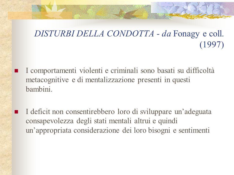 DISTURBI DELLA CONDOTTA - da Fonagy e coll.