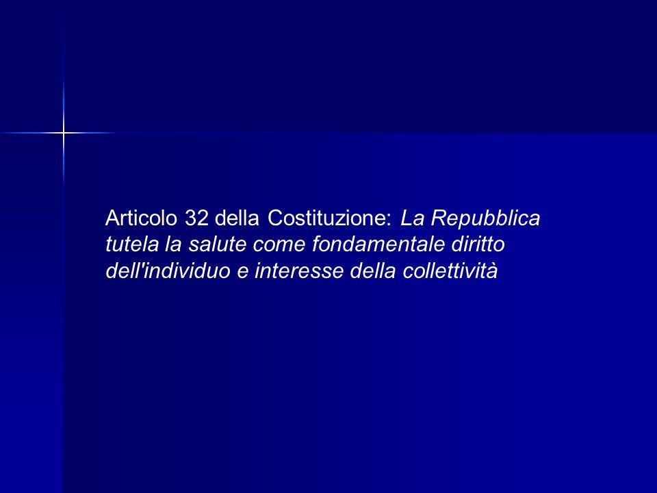 Articolo 32 della Costituzione: La Repubblica tutela la salute come fondamentale diritto dell individuo e interesse della collettività