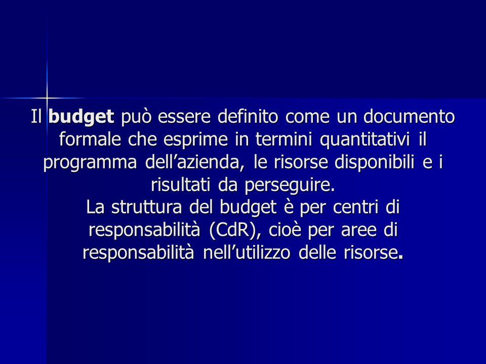 Il budget può essere definito come un documento formale che esprime in termini quantitativi il programma dell'azienda, le risorse disponibili e i risultati da perseguire.