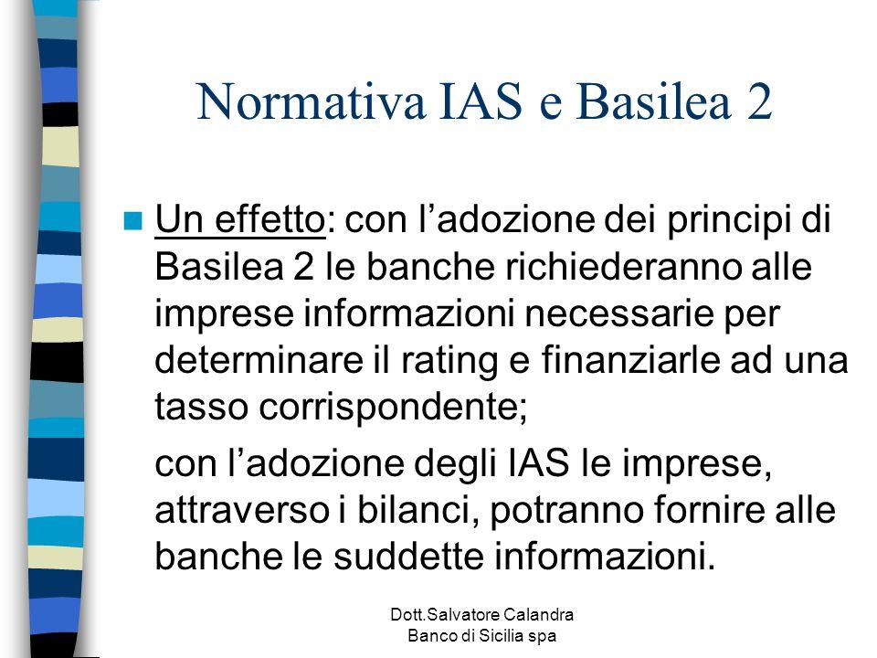 Dott.Salvatore Calandra Banco di Sicilia spa Normativa IAS e Basilea 2 Un effetto: con l'adozione dei principi di Basilea 2 le banche richiederanno al