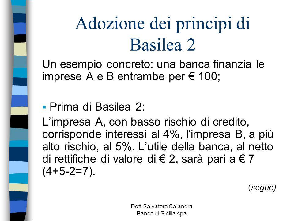 Dott.Salvatore Calandra Banco di Sicilia spa Adozione dei principi di Basilea 2 Un esempio concreto: una banca finanzia le imprese A e B entrambe per