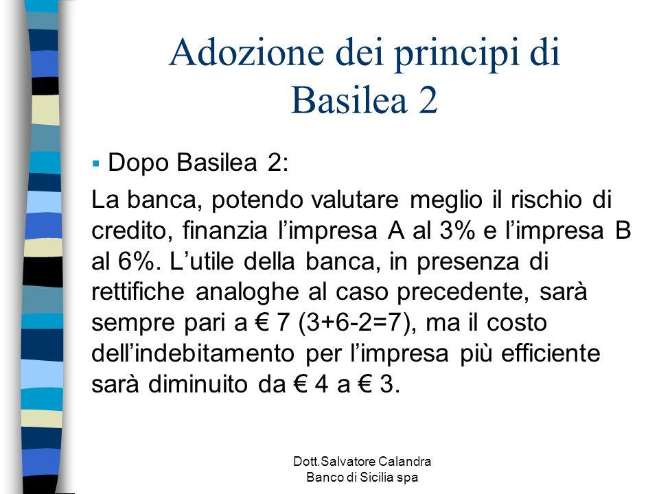 Dott.Salvatore Calandra Banco di Sicilia spa Adozione dei principi di Basilea 2  Dopo Basilea 2: La banca, potendo valutare meglio il rischio di cred