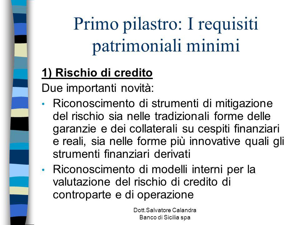 Dott.Salvatore Calandra Banco di Sicilia spa Primo pilastro: I requisiti patrimoniali minimi 1) Rischio di credito Due importanti novità: Riconoscimen