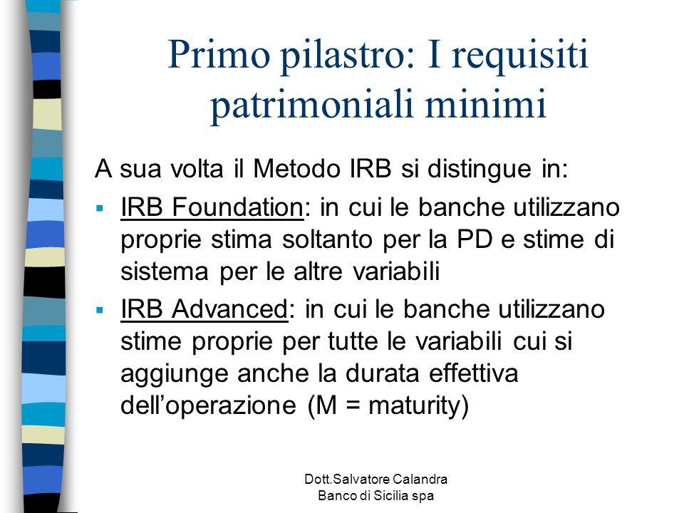 Dott.Salvatore Calandra Banco di Sicilia spa Primo pilastro: I requisiti patrimoniali minimi A sua volta il Metodo IRB si distingue in:  IRB Foundati