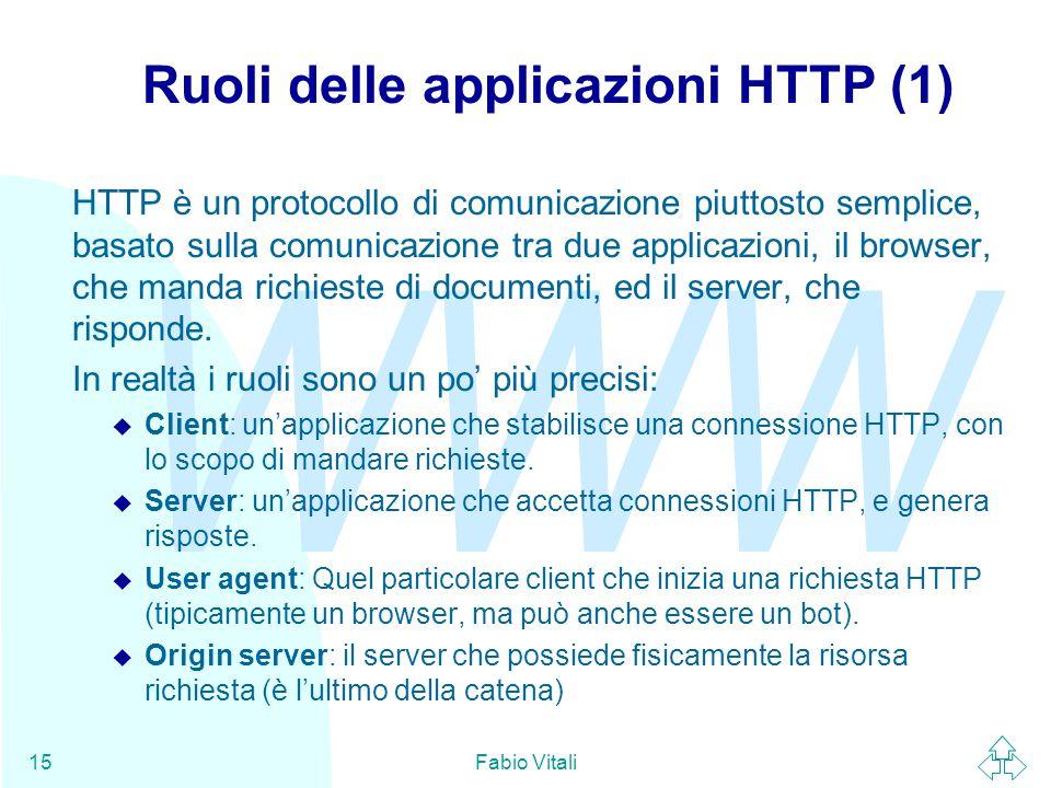 WWW Fabio Vitali15 Ruoli delle applicazioni HTTP (1) HTTP è un protocollo di comunicazione piuttosto semplice, basato sulla comunicazione tra due applicazioni, il browser, che manda richieste di documenti, ed il server, che risponde.