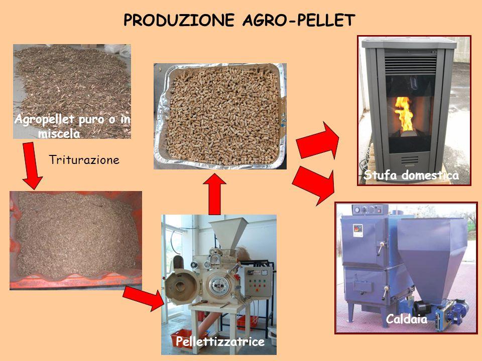 PRODUZIONE AGRO-PELLET Triturazione Pellettizzatrice Agropellet puro o in miscela Stufa domestica Caldaia