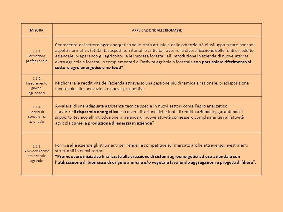 MISURAAPPLICAZIONE ALLE BIOMASSE 1.1.1 Formazione professionale Conoscenza del settore agro energetico nello stato attuale e delle potenzialità di svi