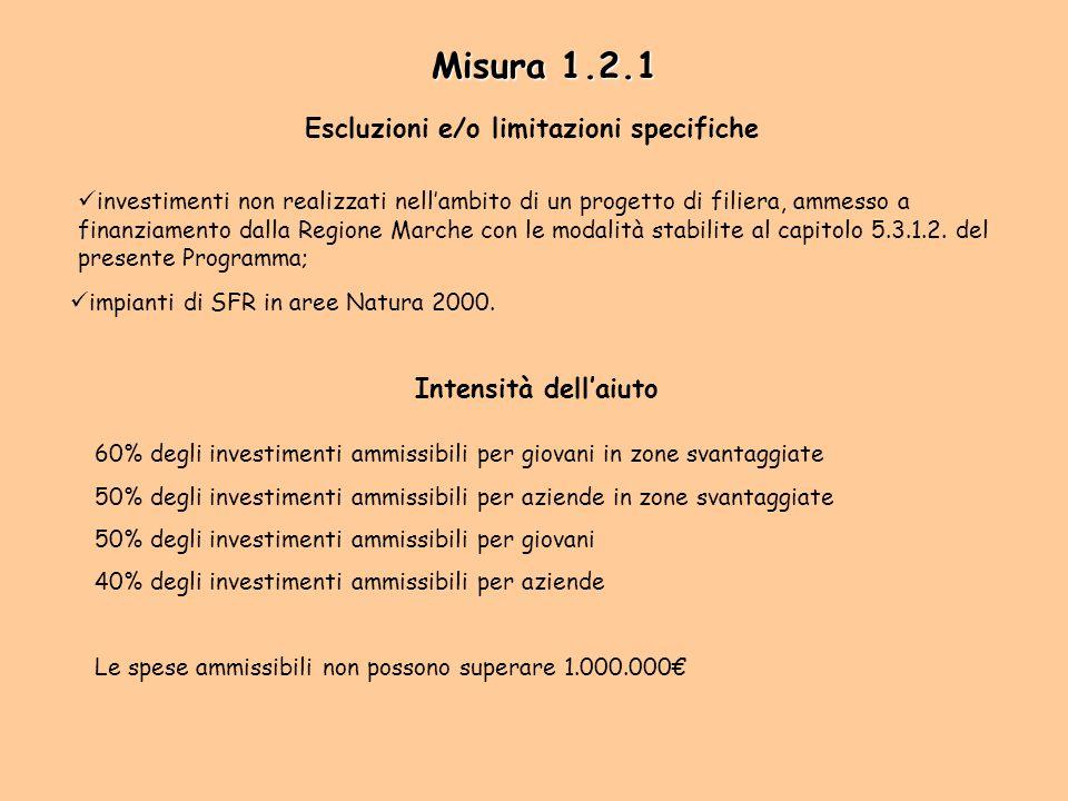 investimenti non realizzati nell'ambito di un progetto di filiera, ammesso a finanziamento dalla Regione Marche con le modalità stabilite al capitolo