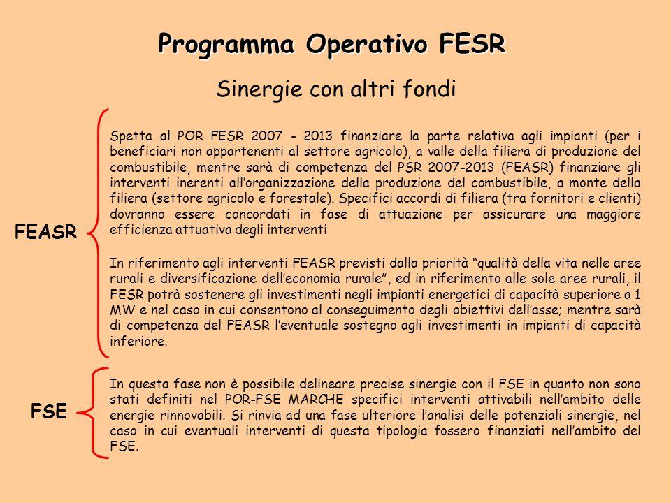 Sinergie con altri fondi FEASR Spetta al POR FESR 2007 - 2013 finanziare la parte relativa agli impianti (per i beneficiari non appartenenti al settor