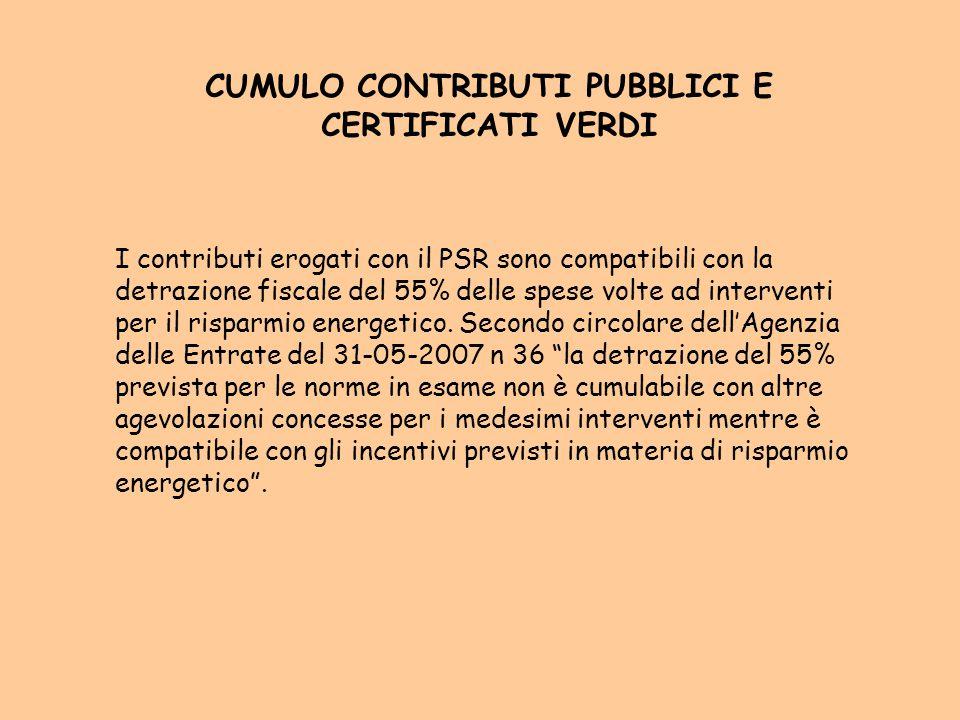 CUMULO CONTRIBUTI PUBBLICI E CERTIFICATI VERDI I contributi erogati con il PSR sono compatibili con la detrazione fiscale del 55% delle spese volte ad