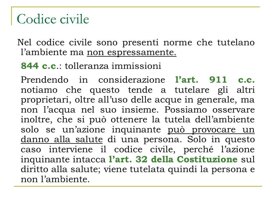 Codice civile Nel codice civile sono presenti norme che tutelano l'ambiente ma non espressamente.