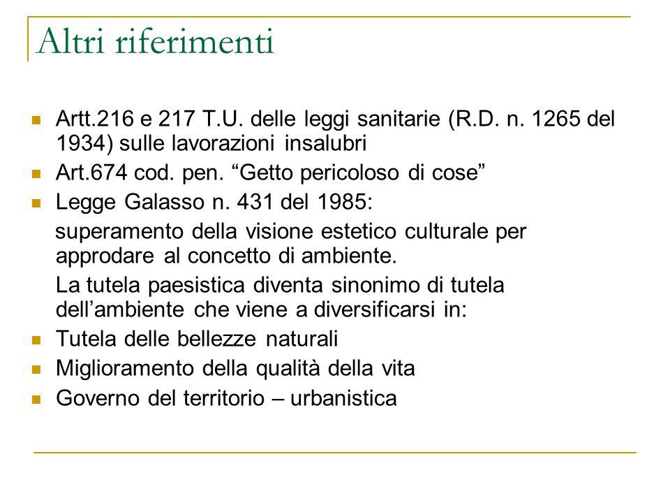 Altri riferimenti Artt.216 e 217 T.U. delle leggi sanitarie (R.D.