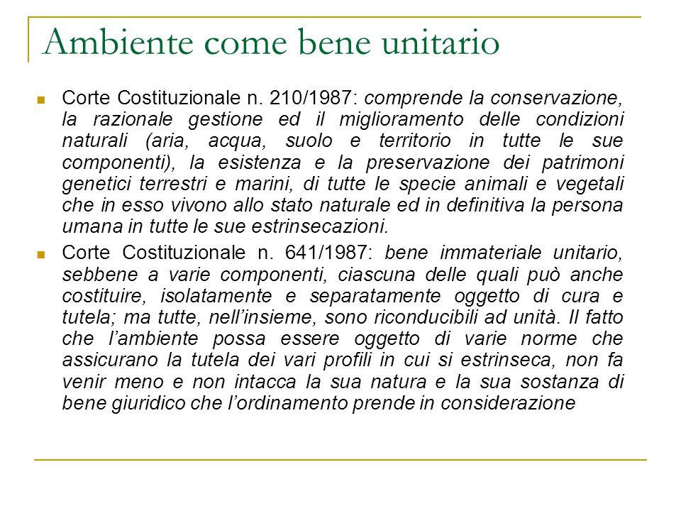 Ambiente come bene unitario Corte Costituzionale n.