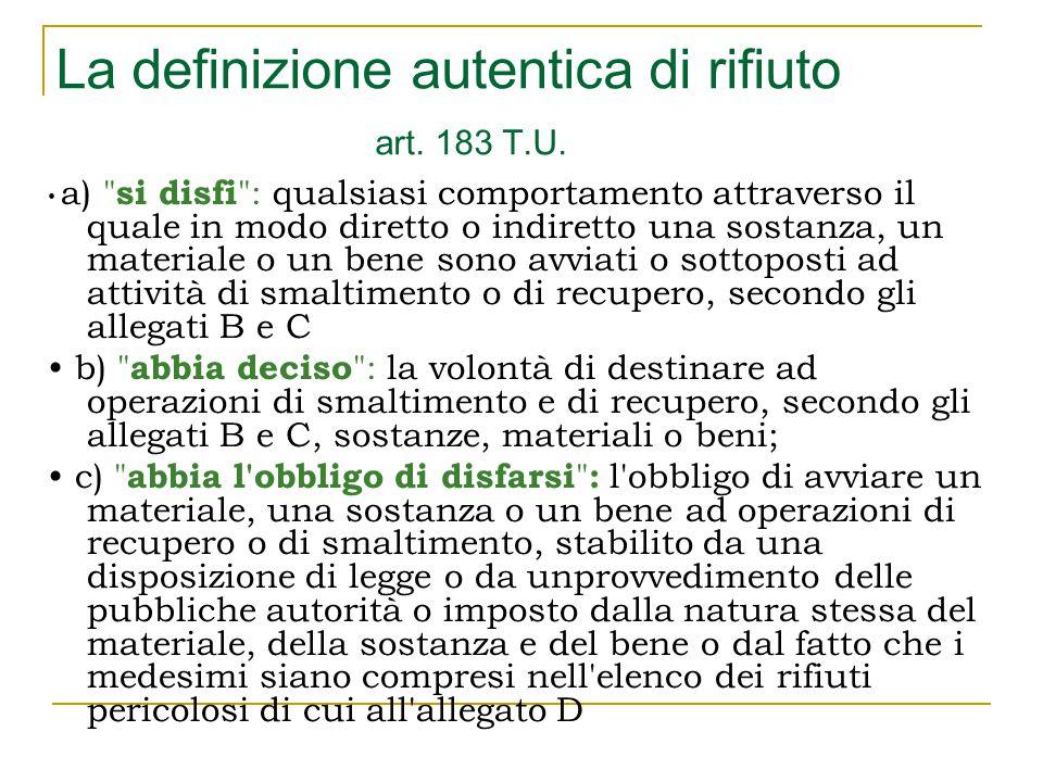 La definizione autentica di rifiuto art. 183 T.U.