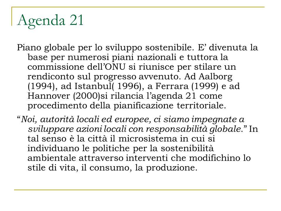Agenda 21 Piano globale per lo sviluppo sostenibile.