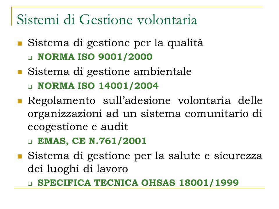 Sistemi di Gestione volontaria Sistema di gestione per la qualità  NORMA ISO 9001/2000 Sistema di gestione ambientale  NORMA ISO 14001/2004 Regolamento sull'adesione volontaria delle organizzazioni ad un sistema comunitario di ecogestione e audit  EMAS, CE N.761/2001 Sistema di gestione per la salute e sicurezza dei luoghi di lavoro  SPECIFICA TECNICA OHSAS 18001/1999