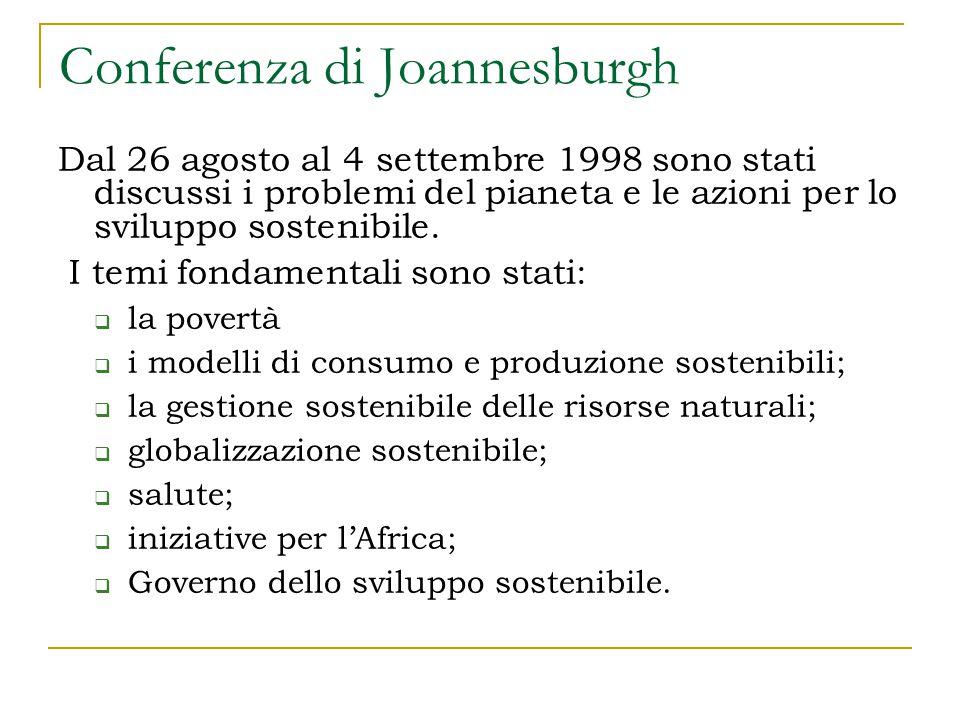 Conferenza di Joannesburgh Dal 26 agosto al 4 settembre 1998 sono stati discussi i problemi del pianeta e le azioni per lo sviluppo sostenibile.
