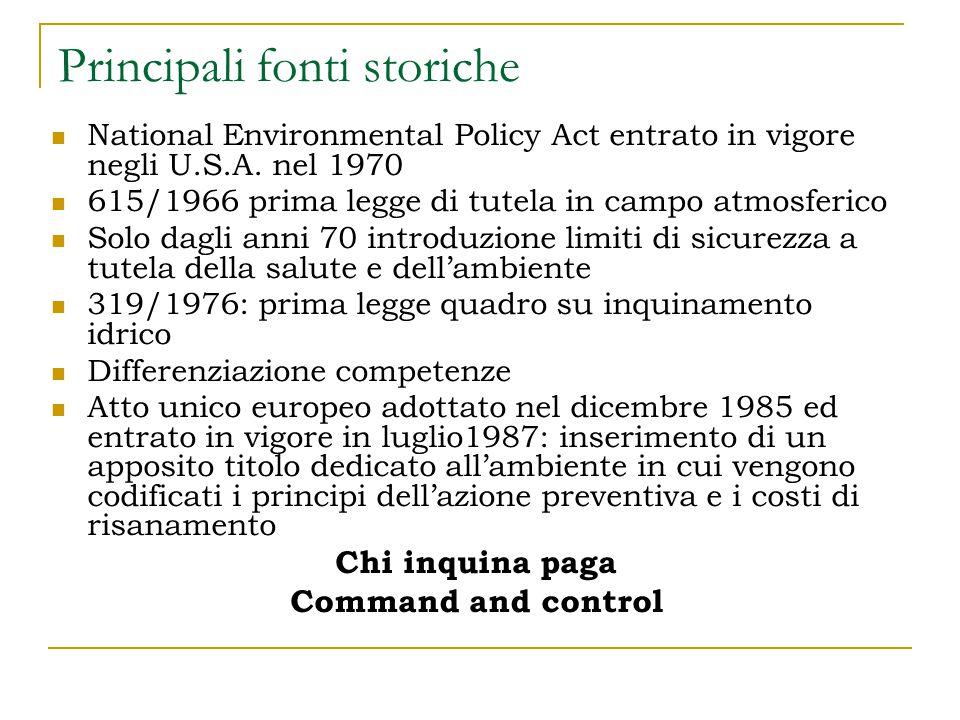 Atto Unico europeo 1987 I requisiti di politica ambientale sono una componente essenziale: prevenzione e chi inquina paga.