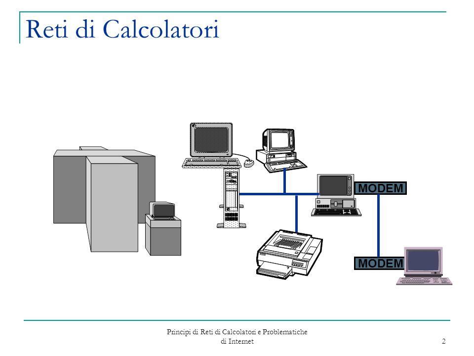 Principi di Reti di Calcolatori e Problematiche di Internet 3 Reti di Calcolatori Cosa è una rete.