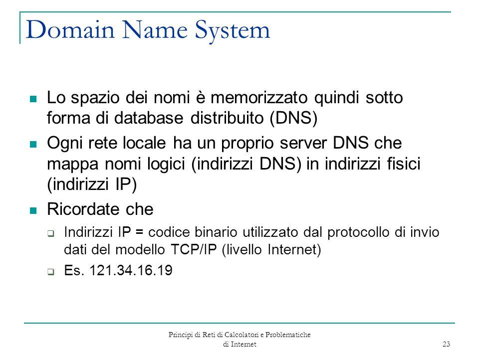 Principi di Reti di Calcolatori e Problematiche di Internet 23 Domain Name System Lo spazio dei nomi è memorizzato quindi sotto forma di database dist