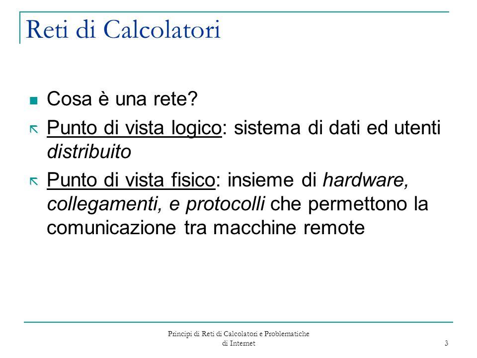 Principi di Reti di Calcolatori e Problematiche di Internet 3 Reti di Calcolatori Cosa è una rete? ã Punto di vista logico: sistema di dati ed utenti