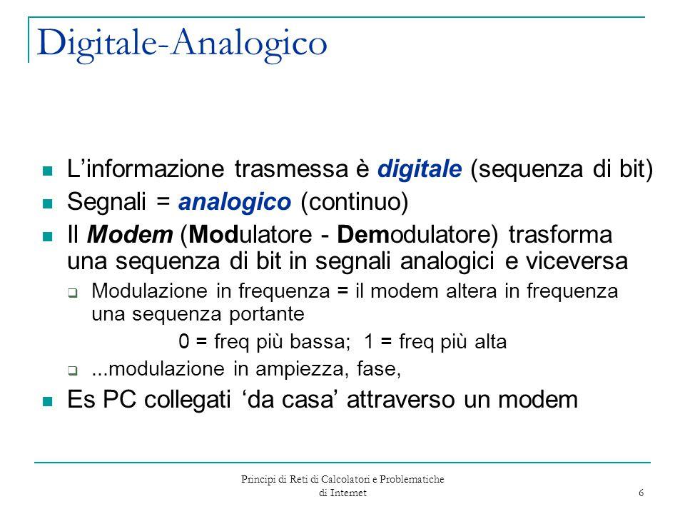Principi di Reti di Calcolatori e Problematiche di Internet 6 Digitale-Analogico L'informazione trasmessa è digitale (sequenza di bit) Segnali = analo