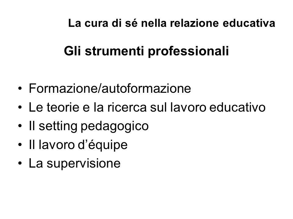 La cura di sé nella relazione educativa Gli strumenti professionali Formazione/autoformazione Le teorie e la ricerca sul lavoro educativo Il setting pedagogico Il lavoro d'équipe La supervisione