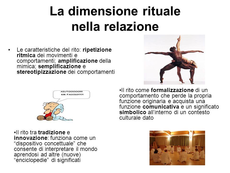 La dimensione rituale nella relazione Le caratteristiche del rito: ripetizione ritmica dei movimenti e comportamenti; amplificazione della mimica; sem
