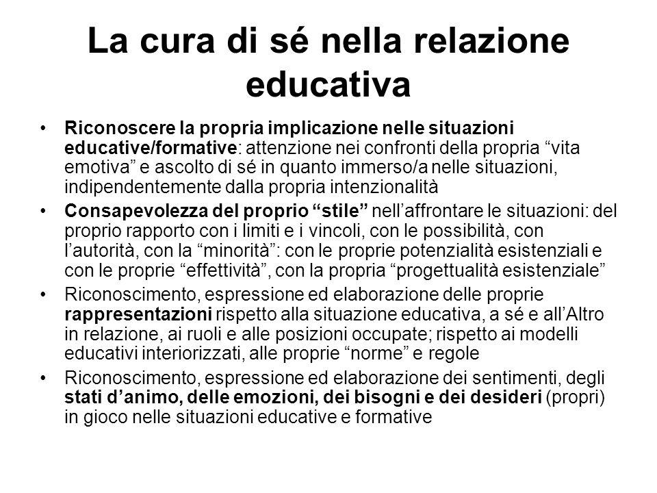 La cura di sé nella relazione educativa Riconoscere la propria implicazione nelle situazioni educative/formative: attenzione nei confronti della propr
