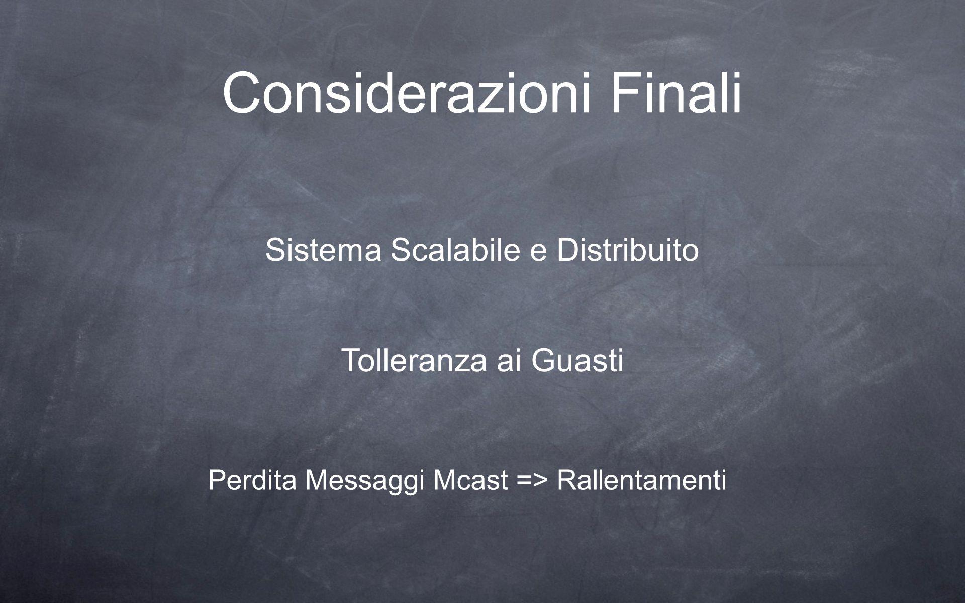 Considerazioni Finali Perdita Messaggi Mcast => Rallentamenti Sistema Scalabile e Distribuito Tolleranza ai Guasti
