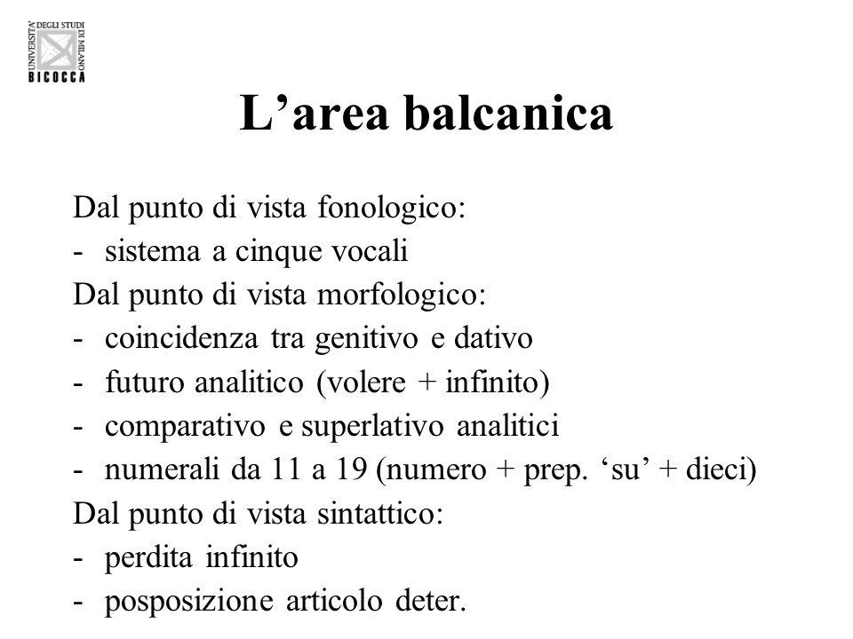 L'area balcanica Dal punto di vista fonologico: -sistema a cinque vocali Dal punto di vista morfologico: -coincidenza tra genitivo e dativo -futuro an