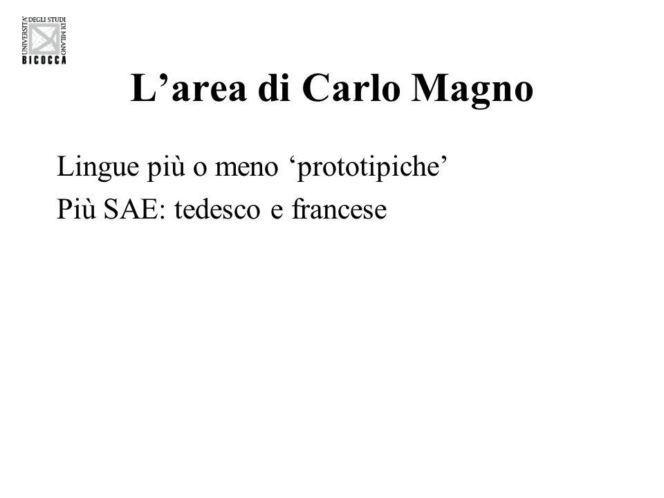 L'area di Carlo Magno Lingue più o meno 'prototipiche' Più SAE: tedesco e francese