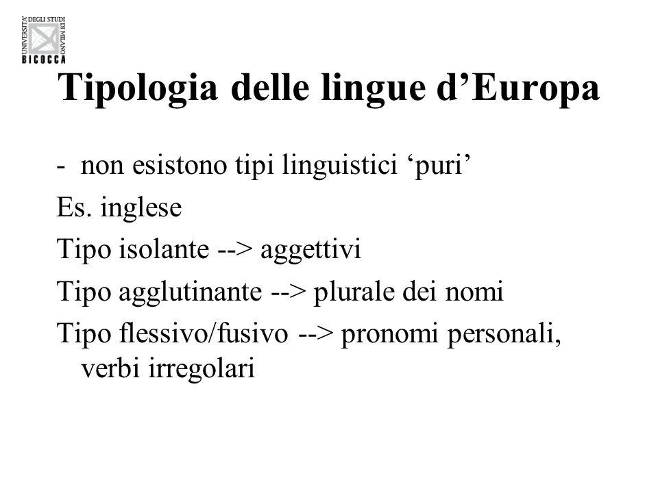 Tipologia delle lingue d'Europa -non esistono tipi linguistici 'puri' Es. inglese Tipo isolante --> aggettivi Tipo agglutinante --> plurale dei nomi T