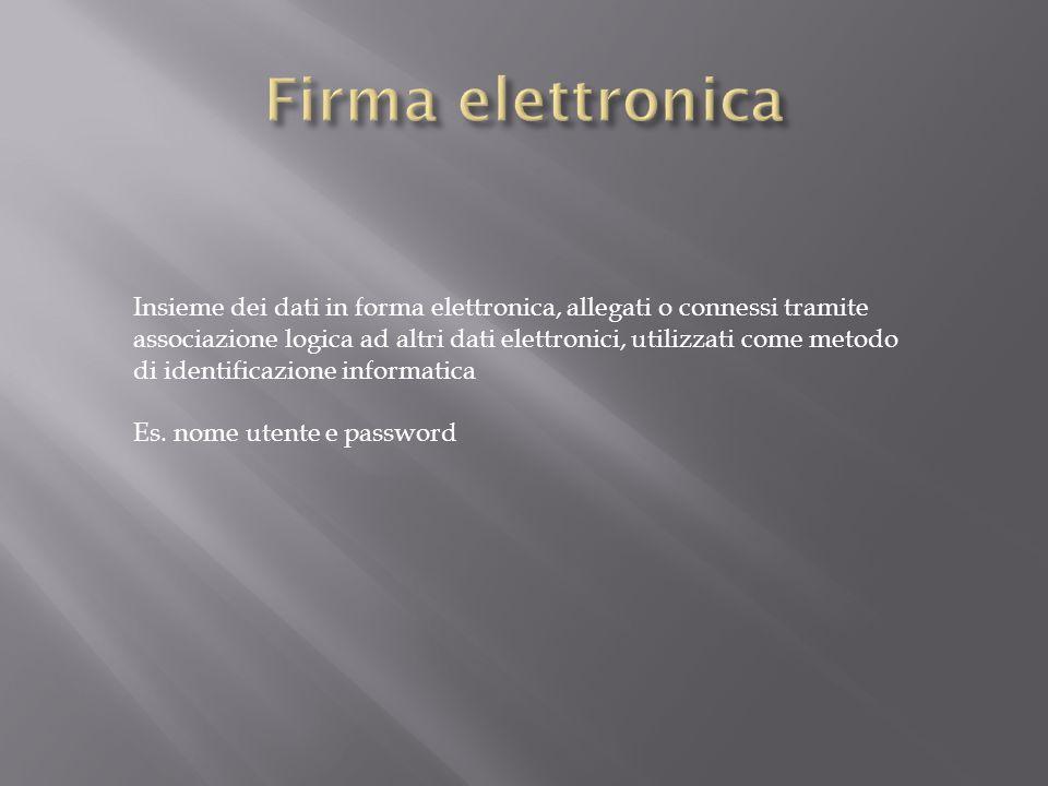 Insieme dei dati in forma elettronica, allegati o connessi tramite associazione logica ad altri dati elettronici, utilizzati come metodo di identificazione informatica Es.