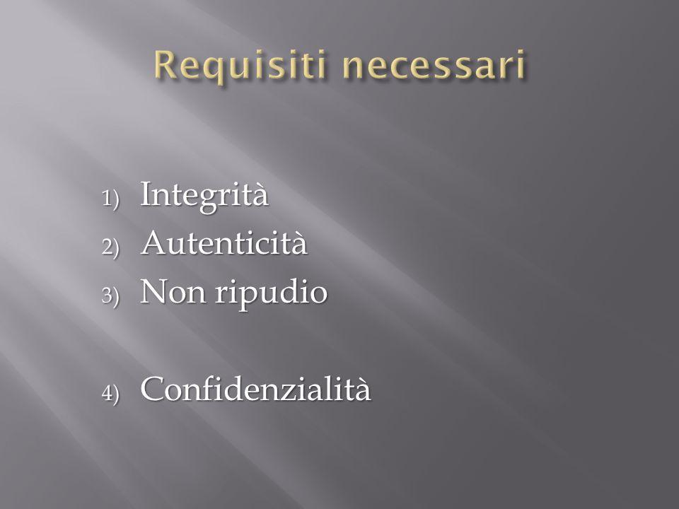 1) Integrità 2) Autenticità 3) Non ripudio 4) Confidenzialità