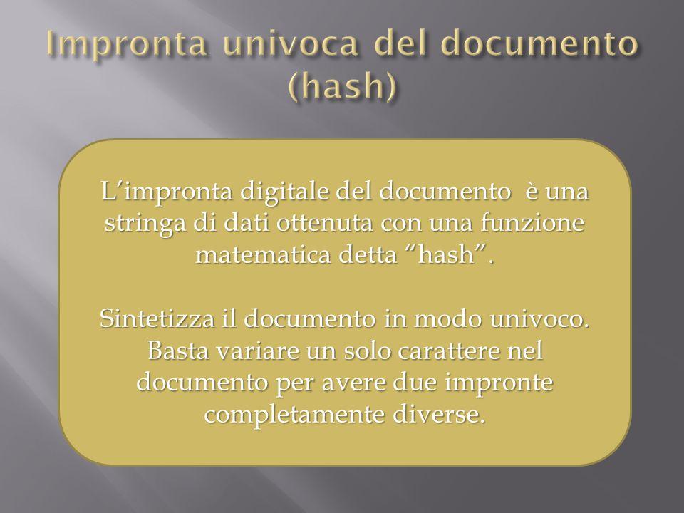L'impronta digitale del documento è una stringa di dati ottenuta con una funzione matematica detta hash .