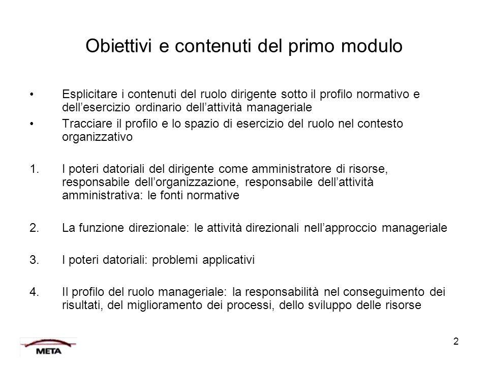 2 Obiettivi e contenuti del primo modulo Esplicitare i contenuti del ruolo dirigente sotto il profilo normativo e dell'esercizio ordinario dell'attivi